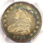 1821 CAPPED BUST QUARTER 25C  RAINBOW TONE    PCGS XF DETAILS    DATE COIN