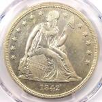 1842 SEATED LIBERTY SILVER DOLLAR $1   PCGS AU DETAILS    EARLY DATE COIN