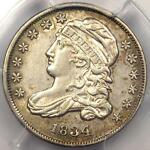 1834 CAPPED BUST DIME 10C JR 4   PCGS AU DETAIL    DATE CERTIFIED COIN