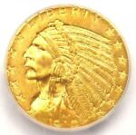 1910 INDIAN GOLD HALF EAGLE $5 COIN   ICG MS64    IN MS64   $2 250 VALUE