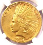 1913 S INDIAN GOLD EAGLE $10 COIN   CERTIFIED NGC AU55   $2 100 VALUE