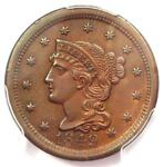 1849 BRAIDED HAIR LARGE CENT 1C   PCGS UNCIRCULATED DETAIL    MS UNC PENNY