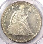 1873 SEATED LIBERTY SILVER DOLLAR $1   PCGS AU DETAILS    CERTIFIED COIN