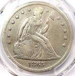 1865 SEATED LIBERTY SILVER DOLLAR $1   PCGS VF DETAILS    CIVIL WAR DATE