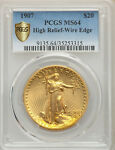 1907 HIGH RELIEF WIRE EDGE $20 ST GAUDENS PCGS GOLD SHIELD MS64 DOUBLE EAGLE