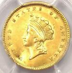 1854 TYPE 2 INDIAN GOLD DOLLAR G$1 COIN   PCGS AU DETAIL      NICE LUSTER