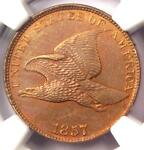 1857 FLYING EAGLE CENT 1C   NGC UNCIRCULATED DETAILS UNC MS    PENNY
