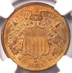 1865 TWO CENT PIECE 2C   NGC UNCIRCULATED DETAILS MS UNC    CERTIFIED COIN