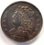 1834 CLASSIC HEAD HALF CENT 1/2C   ANACS AU50 DETAILS    CERTIFIED COIN