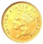 1859 THREE DOLLAR INDIAN GOLD COIN $3   CERTIFIED ANACS XF45 EF45    DATE