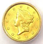 1851 O LIBERTY GOLD DOLLAR COIN G$1   CERTIFIED ICG AU58      $400 VALUE