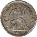 1838 10C LIBERTY SEATED DIME PCGS AU53 LARGE STARS NO DRAPERY