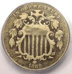 1880 SHIELD NICKEL 5C   CERTIFIED ICG VG10 DETAILS    KEY DATE COIN
