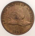 1857 FLYING EAGLE CENT  PENNY 1C COIN S 14 DDO DOUBLED DIE   ANACS AU55 DETAILS