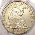 1853 O ARROWS & RAYS SEATED LIBERTY HALF DOLLAR 50C   CERTIFIED PCGS AU DETAILS