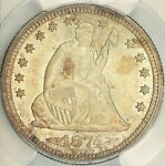 1874 S ARROWS SEATED QUARTER PCGS MS64  CAC