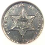 1873 PROOF THREE CENT SILVER PIECE 3CS COIN   ANACS PROOF DETAILS  PF/PR