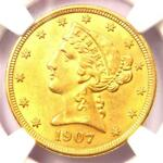 1907 LIBERTY GOLD HALF EAGLE $5 COIN   NGC UNCIRCULATED DETAILS  MS UNC