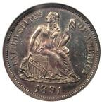 1891 PROOF SEATED LIBERTY DIME 10C COIN   ANACS PROOF DETAILS  NET PR55 / PF55