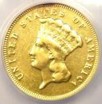 1878 THREE DOLLAR INDIAN GOLD PIECE $3   ANACS VF20 DETAILS    COIN
