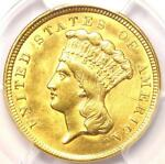 1854 THREE DOLLAR INDIAN GOLD PIECE $3   CERTIFIED PCGS AU DETAILS    COIN