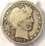 1913 S BARBER QUARTER 25C   PCGS VG DETAILS    KEY DATE CERTIFIED COIN