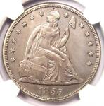 1855 SEATED LIBERTY SILVER DOLLAR $1 COIN   NGC AU DETAILS    KEY DATE