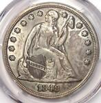1848 SEATED LIBERTY SILVER DOLLAR $1   PCGS XF DETAILS    CERTIFIED COIN