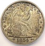 1854 O ARROWS SEATED LIBERTY HALF DOLLAR 50C   ICG AU58    DATE COIN