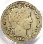 1914 S BARBER QUARTER 25C COIN   CERTIFIED PCGS VG10    DATE