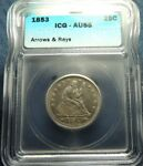1853 ICG AU55 LIBERTY SEATED QUARTER W/ ARROWS&RAYS WHOLESALE PRICED SHIPS FREE