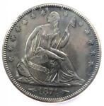 1874 ARROWS SEATED LIBERTY HALF DOLLAR 50C COIN   CERTIFIED ICG AU58 DETAILS