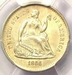 1866 S SEATED LIBERTY HALF DIME H10C   CERTIFIED PCGS UNCIRCULATED  UNC MS