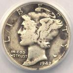 1942/1 D MERCURY DIME 10C   ANACS F12 FINE DETAILS    OVERDATE VARIETY COIN