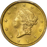 1853 G$1 GOLD DOLLAR PCGS MS65 CAC