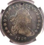1796 SMALL EAGLE DRAPED BUST SILVER DOLLAR $1 BB 61 B 4   NGC FINE DETAIL  HOLE