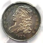 1835 CAPPED BUST DIME 10C   PCGS AU DETAILS    EARLY DATE   CERTIFIED COIN