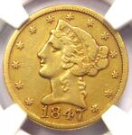 1847 C LIBERTY GOLD HALF EAGLE $5   NGC VF DETAILS    CHARLOTTE GOLD COIN