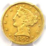 1847 C LIBERTY GOLD HALF EAGLE $5   PCGS XF40  EF40     CHARLOTTE GOLD COIN