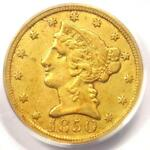 1850 C LIBERTY GOLD HALF EAGLE $5  WEAK C    PCGS XF40  EF40    CHARLOTTE COIN