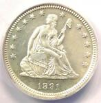 1891 PROOF SEATED LIBERTY QUARTER 25C COIN   ANACS PR64  PF64    $1 160 VALUE