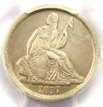 1837 SEATED LIBERTY DIME 10C COIN  NO STARS LARGE DATE    PCGS XF DETAILS  EF
