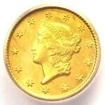 1849 O LIBERTY GOLD DOLLAR G$1   ICG MS61    NEW ORLEANS COIN   $1 440 VALUE
