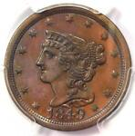 1849 BRAIDED HAIR HALF CENT 1/2C   PCGS GENUINE   AU DETAILS    DATE