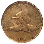 1858/7 FLYING EAGLE CENT 1C OVERDATE PENNY LDS   CERTIFIED ANACS VF30 DETAILS