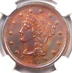 1850 BRAIDED HAIR LARGE CENT 1C   NGC UNCIRCULATED DETAIL    MS BU UNC PENNY
