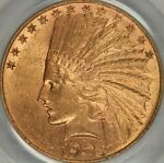 1908 D MOTTO $10 INDIAN EAGLE PCGS MS62