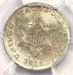 1851 THREE CENT SILVER PIECE 3CS   PCGS UNCIRCULATED    BU MS CERTIFIED COIN