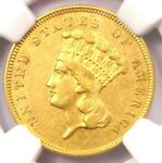 1859 THREE DOLLAR INDIAN GOLD COIN $3   CERTIFIED NGC AU DETAILS    DATE
