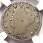 1886 LIBERTY NICKEL 5C   NGC G6    KEY DATE CERTIFIED COIN   $285 VALUE